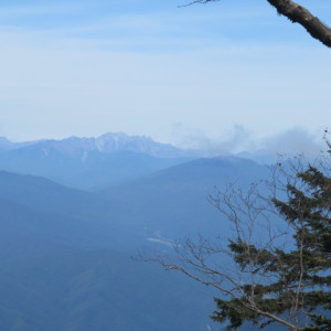 幸ノ川渡渉地から眺めた穂高連峰