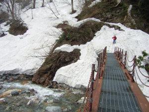 瀬戸川の鉄橋を渡る山スキーヤー